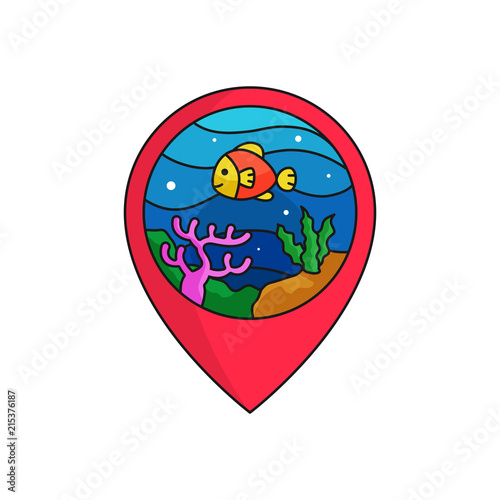 Fotografie, Obraz  Under the sea map pin locator logo badge