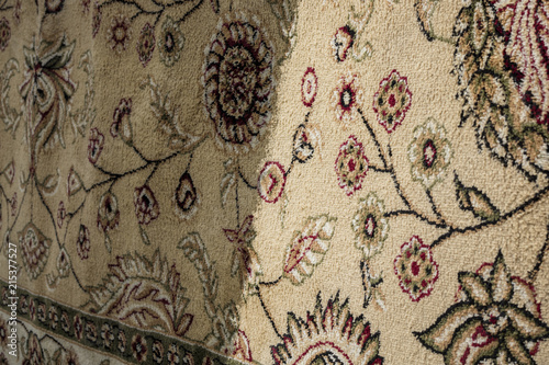 Obraz Cleaning of carpets showing before and after cleaning. Cleaning carpet - fototapety do salonu