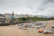 The Harbour And Old Town Of Tenby, Captured At Low Tide