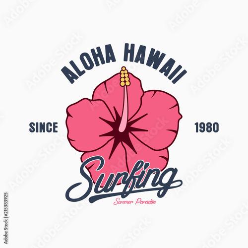 Aloha Hawaii typography graphics for t-shirt  Tee shirt surfing