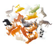 collection of animal toys plastic isolated on white background.