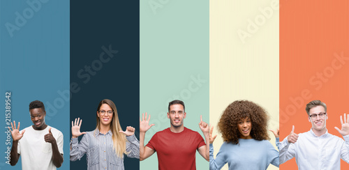 Photographie  Group of people over vintage colors background showing and pointing up with fingers number six while smiling confident and happy