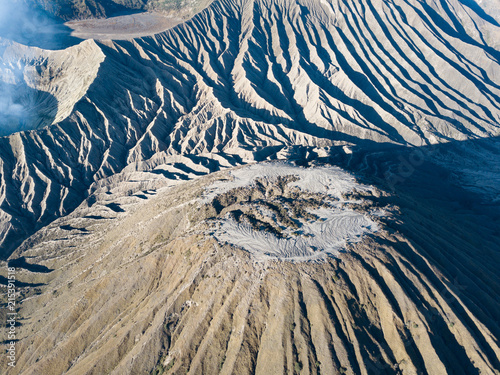 Fotobehang Nachtblauw Mount bromo Indonesia Drone View