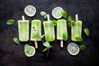 canvas print picture - Green juice popsicles