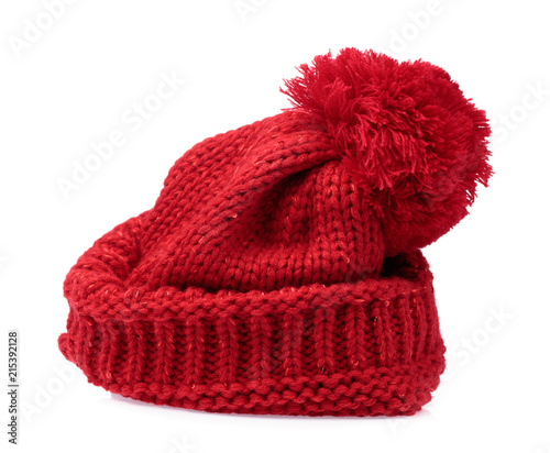 29b3e30b78e Red Knit Wool Hat with Pom Pom isolated on white background - Buy ...