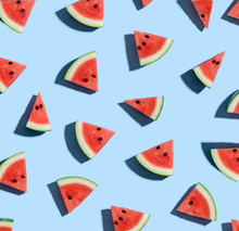 Sliced Watermelons Arranged On...
