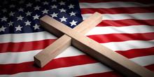Christian Cross On American F...
