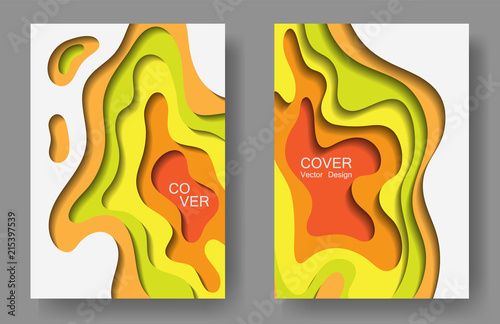 vector paper cut layouts design collection for covers flyers