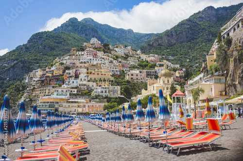 Beach lounges in Positano. Italian resort