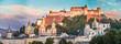 Salzburger Altstadt mit Festung Hohensalzburg im Sommer, Abendrot, Panorama