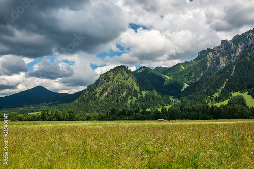 Spoed Foto op Canvas Bleke violet Idyllic landscape in the Alps with green meadows and clouds
