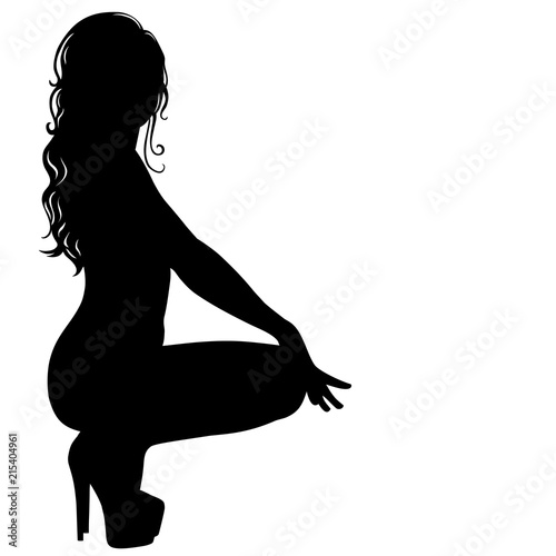 Fototapeta Silhouette of sexy pinup girl with long hair in dance shoes.
