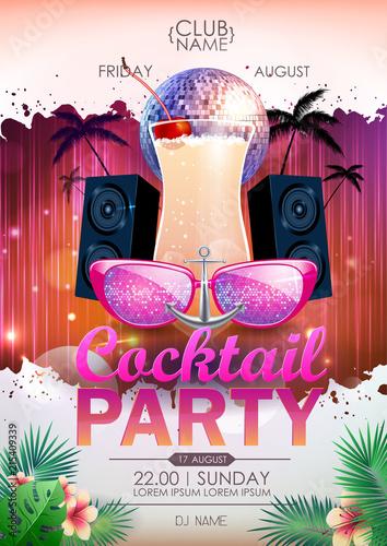 Disco background. Disco ball summer cocktail party poster © annbozhko