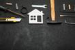 Apartment repair, house construction concept. Copy space for text.