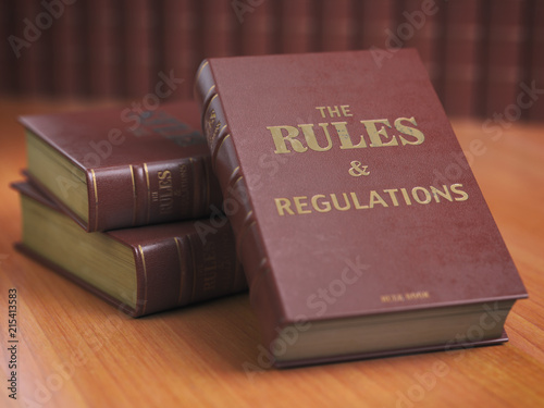 Obraz na plátně Rules an regulations books with official instructions and directions of organization or team