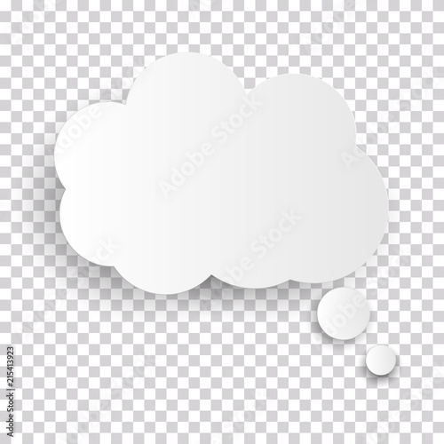 Fotografie, Tablou Cloud Icon, white thought bubble on transparent checked background for Infographic design