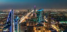 Saudi Arabia Riyadh Landscape At Night - Riyadh Tower Kingdom Centre - Kingdom Tower – Riyadh Skyline - Burj Al-Mamlaka – AlMamlakah – Riyadh At Night