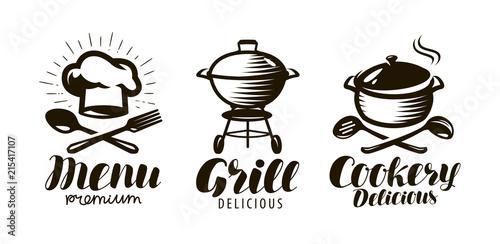 Obraz Cookery, grill, menu logo or label. Food concept. Lettering vector illustration - fototapety do salonu