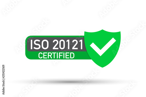ISO 20121 Certified Badge Icon Certification Stamp Flat Design Vector
