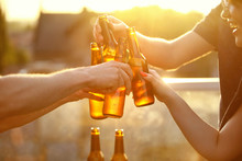 Beer Festival. People Drinking...