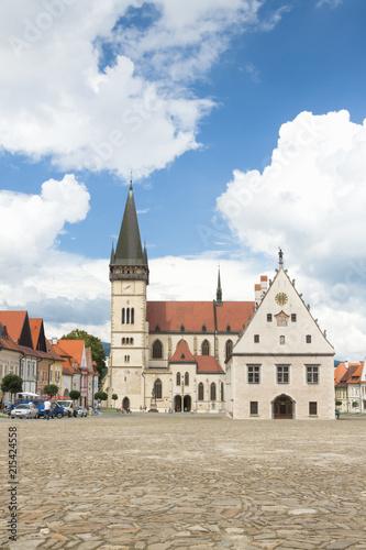 Fotobehang Oost Europa Slovakia, Bardejov, Market Square, St Egidius Basilica, Summer