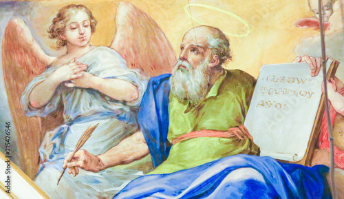 Fresco depicting Matthew the Evangelist Canvas Print