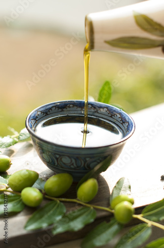 Photo the olive oil in the cup