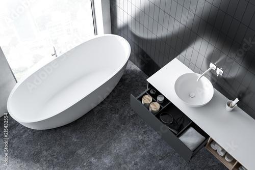 Fotografie, Obraz  Top view of a gray bathroom