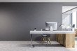 Gray and wooden luxury office interior, mock up