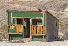 The Crumbling Green Shack At Rhyolite Ghost Town, Nevada