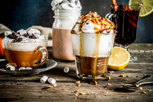 Autumn Winter Warm Drinks, Hot Chocolate, Pumpkin Latte, Caramel And Peanut Coffee Latte, Mulled Wine, Cozy Dark Background Copy Space