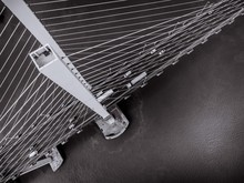 Aerial View Of A Cable Stayed Suspension Bridge