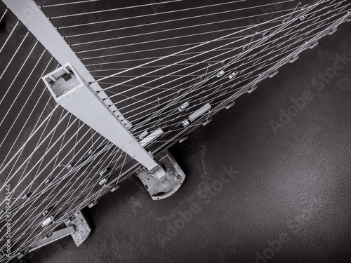 Cuadros en Lienzo Aerial View of a Cable Stayed Suspension Bridge