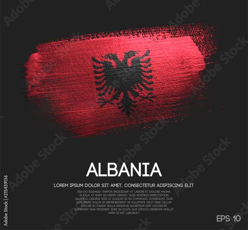 Albania Flag Made of Glitter Sparkle Brush Paint Vector Wallpaper Mural
