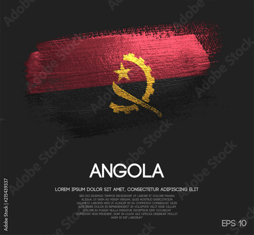 Angola Flag Made of Glitter Sparkle Brush Paint Vector Canvas Print
