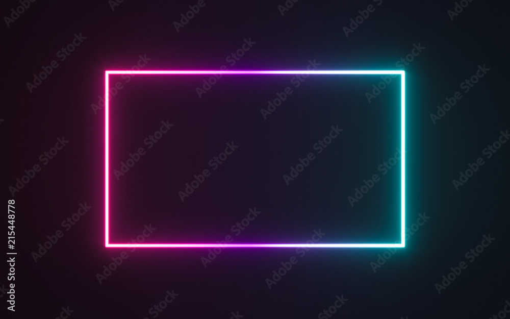 Fototapety, obrazy: Neon frame sign in the shape of a rectangle. 3d illustration