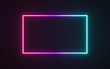 canvas print picture - Neon frame sign in the shape of a rectangle. 3d illustration