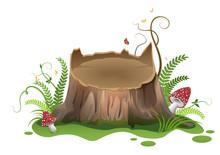 Wooden Vector Cartoon Stump An...