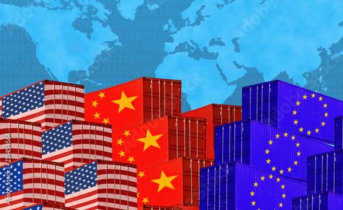 Fotografía  Concept image of  USA-China-EU trade war, Economy conflict, US tariffs on export