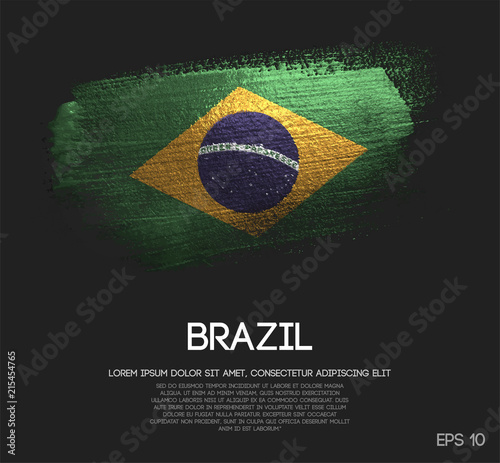 Foto Brazil Flag Made of Glitter Sparkle Brush Paint Vector