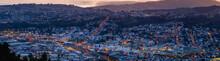 Panorama View, Beautiful Cityscape After Sunset. Nightlight. Dunedin, New Zealand.