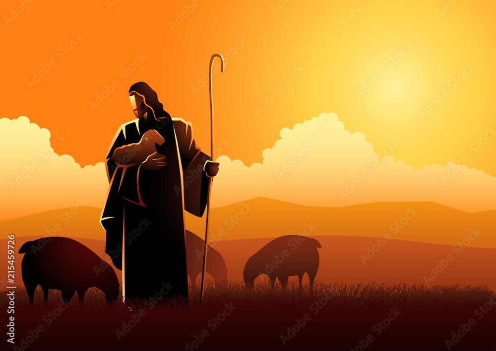 Fototapety, obrazy: Jesus as a shepherd