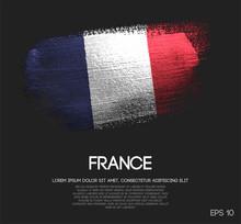 France Flag Made Of Glitter Sparkle Brush Paint Vector