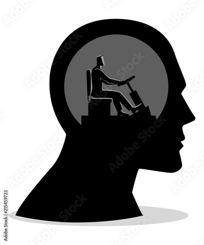 Human head being controlled by a businessman Wallpaper Mural