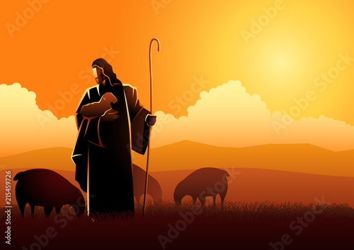 Stampa su Tela Jesus as a shepherd