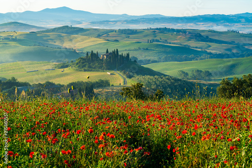 Beautiful landscape of hilly Tuscany in Italy