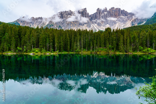 Printed kitchen splashbacks Reflection View of the beautiful Lake Carezza