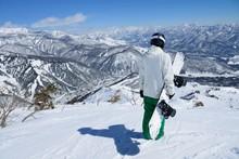 Panoramic Snow Boarding At Hakuba Happo In Nagano Japan With Blue