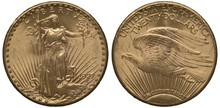 United States Golden Coin 20 Twenty Dollars 1927, Liberty With Torch And Branch In Sunrays, Flying Eagle In Sunrays, Signs Of Circulation,