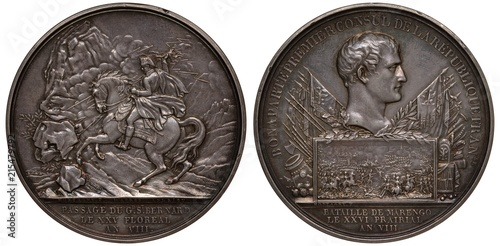 Cuadros en Lienzo  France French silver medal mid 19th century, Napoleon passing St